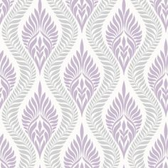 allen   roth Lilac/Silver Strippable Non-Woven Prepasted Classic Wallpaper