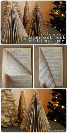 Easy Christmas Craft Tutorial: how to make a christmas tree from a paperback boo. - Easy Christmas Craft Tutorial: how to make a christmas tree from a paperback book - Book Christmas Tree, Christmas Paper Crafts, Christmas Projects, All Things Christmas, Simple Christmas, Holiday Crafts, Christmas Holidays, Christmas Decorations, Christmas Ornaments