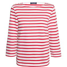 Saint James Galathee White And Red Striped Shirt (1.287.725 IDR) ❤ liked on Polyvore featuring tops, blouses, stripes, white 3 4 sleeve blouse, red stripe shirt, white shirts, nautical striped shirt and shirt blouse
