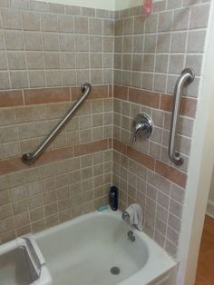 Bathroom Grab Bars Installed In Shower.