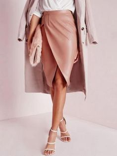 Pink High Waist Ruched Wrap PU Pencil Skirt | Choies  #clothings #fashionapparel #trend #gift #stylish #sale #style #fashion #Cardigan #apparel #clothing #clothingline #christmas #palysuit #shoes #boot #plimsolls #shippingonline #newarrivals
