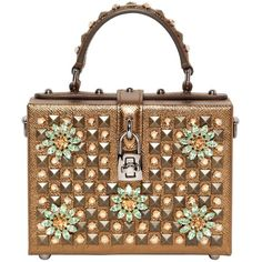 DOLCE & GABBANA Small Leather Dolce Bag With Swarovski (13.735 RON) ❤ liked on Polyvore featuring bags, handbags, shoulder bags, gold, handbags purses, leather man bag, man bag, shoulder handbags and handbags shoulder bags