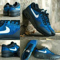 2a8abc76e07ec Nike Air Max 1 Ultra Flyknit - Dark Obsidian   White   Racer Blue   nokickslikenike  nikeholic  airmax  nikeairmax  nikeairmax1  flyknit   newkicks