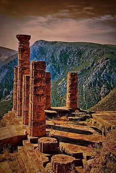 The Ruins of Temple of Apollo, Delphi, Greece