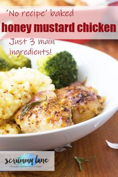 You hardly need a recipe for this baked honey mustard chicken. Throw chicken in a baking dish pour over a simple sauce and bake. You'll make it time and time again! Stove Top Recipes, Easy Meat Recipes, Slow Cooker Recipes, Easy Meals For Two, Quick Easy Meals, Potted Meat Recipe, Honey Mustard Chicken, Easy Party Food, Healthy Family Meals