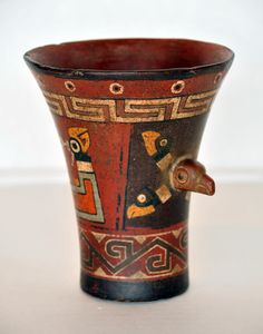 Condor Vase - Tiahuanako Culture - Bolivia-Peru's Altiplano 300 BC - 1100 AD Painted Ceramic - William Siegal Gallery