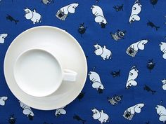 Tablecloth dark blue black and white Moomins characters , table runner , napkins , curtains , pillows available, great GIFT