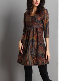 Reborn Collection Brown Paisley Empire-Waist Tunic | zulily