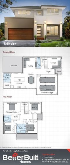 The Belle View 26: Double Storey House Design 232 Sq.m – 10.7m x 16.7m With 4 large bedrooms, 2 walk in robes, Living, Family and a separate Dining room there is plenty of room in the Belle View to stretch out and unwind. Enjoy entertaining in the magnificent Kitchen which overlooks the generous sized Alfresco. Don't look any further than the Belle View for the perfect family home. #BetterBuilt #floorplans #housedesigns