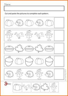 Math Worksheets Activities - Autumn (Beginning Skills). A page from the unit: cut and paste patterns