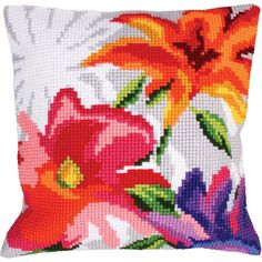 "Stylish Flowers I Stamped Cross Stitch Pillow Cushion Kit 16"" x 16"""