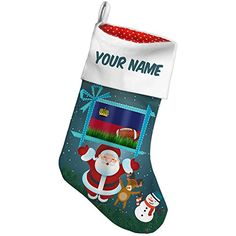 Christmas Stocking Football with Flag Liechtenstein Xmas night NEONBLOND -- Continue to the product at the image link. #XmasStockingsHolders