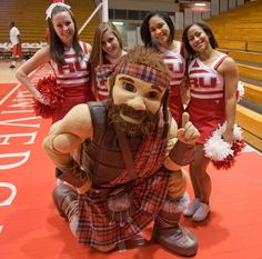 What would a basketball game be without the Radford University cheerleaders and the Highlander?