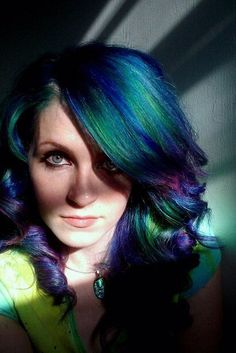 peacock colored hair - Tough! I couldn't imagine how much work that would be and to maintain it but love it.
