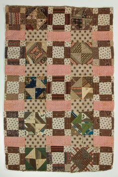 small quilt-interesting mix of 19thc. fabrics