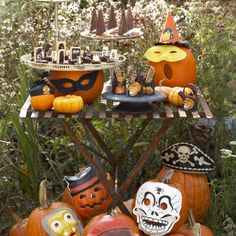 Site suggests using vintage masks on pumpkins- cute!