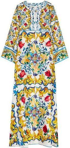 'Carretto' Printed Kaftan Maxi Dress