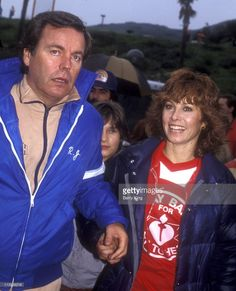 Robert Wagner and Stefanie Powers during 'Hart to Hart' Celebrity Softball Game - February 6, 1983 at Eddy Field at Pepperdine University in Malibu, California, United States.