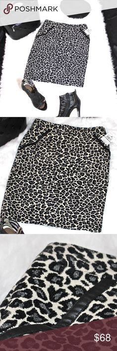 "SALE**HP**NWT—Chic Leopard Skirt HOST PICK! ""BEST in GIFTS 12.20.17 ★NWT★Amanda & Chelsea Leopard Print Knit Skirt is ultra comfortable & sexy!  MUST-HAVE for Fall/Winter. Appropriate for work & play! Grey & black leopard,cream background. Faux leather pocket trim. Hidden back zipper, hook & eye closure.  Kick-pleat (still sewn) Viscose/Poly/Cotton blend. ★BUNDLE & SAVE! ★ ——Pair with Shoes, Bags & Accessories from my closet!  ★TONS more BOUTIQUE, NWT & NEW GIFT items COMING SOON!★ ❤THANKS…"