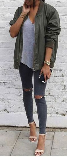 street style outfit: jacket top rips heels