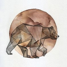 Illustration - illustration - Geometric Animals by Allison Kunath, via Behance illustration : – Picture : – Description Geometric Animals by Allison Kunath, via Behance -Read More – Watercolor Circles, Watercolor Moon, Tattoo Watercolor, Art And Illustration, Illustrations, Mask Draw, Bear Tattoos, Ship Tattoos, Arrow Tattoos