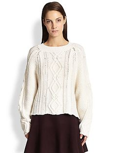 3.1 Phillip Lim Balloon-Sleeve Wool Cable Sweater