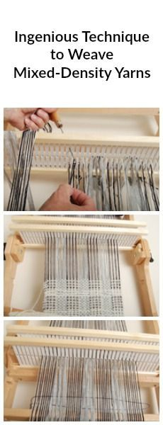 Using two rigid heddles, you can create mixed-density scarves with this handy tutorial from weaving expert Jane Patrick. Types Of Weaving, Weaving Tools, Card Weaving, Weaving Yarn, Tablet Weaving, Weaving Textiles, Weaving Projects, Weaving Patterns, Cricket Loom