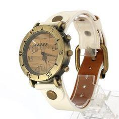 Reloj Analogico Cuarzo Vintage Pulsera Correa PU Blanco para Mujer Hombre