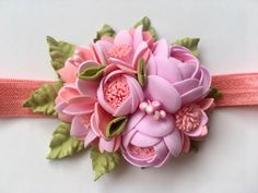 Floral headband for little girls baby newborn elastic nylon flowers accessory for the head in different colors pink Nylon Flowers, Clay Flowers, Flowers In Hair, Fabric Flowers, Felt Hair Accessories, How To Make Paper Flowers, Kanzashi Flowers, Flower Clipart, Boutique Hair Bows