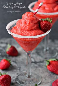 Strawberry Margaritas | cravingsofalunatic.com | Two recipes for fabulous Frozen  Strawberry Margaritas, one is boozy, the other one is a virgin option. Whip one up today!
