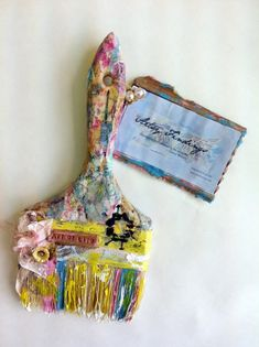 My mixed media brush for Donna Downey's Altered Brush Project.  Love my Chip Art tools too! #mixed media
