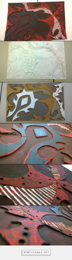 make a design out of different materials like cardboard and cork and corrugated cardboard and anything else you can think of that has unique textures and then I used ink and a roller to apply color then used a printing press to put the image on paper. but in my opinion the actual cardboard looked way cooler than the prints so I painted the cardboard with just tempera paint. and the reason it looks like it has little cracks is because the cardboard and cork absorbed the paint. I like that…