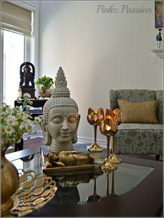 Buddha vignette, brass collections, home décor vignette