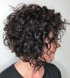 Angled Brunette Bob with Messy Curls