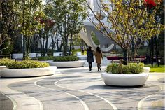 City Landscape, Urban Landscape, Landscape Architecture, Landscape Design, Architecture Design, Urban Furniture, Street Furniture, Plaza Design, Paving Pattern