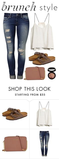 """""""How I Dress for Brunch"""" by fashionchiclynerd ❤ liked on Polyvore featuring Birkenstock, H&M, Michael Kors, Mavi and Laura Geller"""