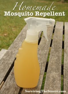 Homemade Mosquito Repellent - just 3 ingredients!  Easy to make and smells great!