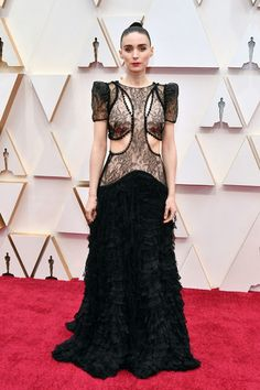 The Ultimate Fashion Guide To The Oscars Red Carpet - Rooney Mara in Alexander McQueen - Oscar Gowns, Oscar Dresses, Salma Hayek, Thom Browne, Scarlett Johansson, Elie Saab, Oscars, Red Carpet Dresses, Blue Dresses