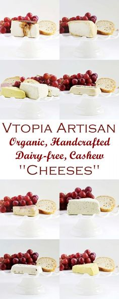 Vtopian Artisan Cheeses are cashew-based, dairy-free & cultured with organic ingredients. Varieties range from firm cheddar wedges to soft brie logs. Dairy Free Recipes, Vegan Recipes, Vegan Food, Gluten Free, Paleo Appetizers, Dairy Free Cheese, Types Of Cheese, Cashew Cheese, Artisan Cheese