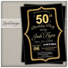 Golden 50th Birthday Invitation Black And Gold By LuisDesigns Invitations