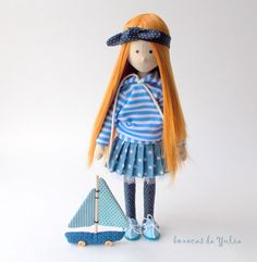 dolls cloth doll fabric doll collection doll girl room decoration redhead doll ginger doll doll in blue sailor doll handmade doll ragdoll textile doll boneca de pano boneca do tecido muneca custom cloth doll nursery decor doll with long hair  * * *  Cute tiny ginger hair sailor cloth doll Marianna wearing polka dot bandana and owns little boat, made of natural Korean and Brazilian cotton, dolls hair, and filled with synthetic non-allergenic material (fiberfill). Marianna can stand and sit by…