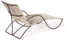 Walter Lamb  Chaise lounge  Designed c. 1950  Tubular Bronze and yacht cord
