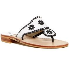 Jack Rogers Whipstitched Flip Flop ($80) ❤ liked on Polyvore featuring shoes, sandals, flip flops, leather shoes, slip-on shoes, leather slip on shoes, leather flip flops and leather upper shoes