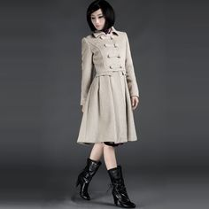 Chinese Style Tailor Made Woolen Overcoats Beige  - $426 - SKU: 089409 - Buy Now: http://elegente.com/nzx.html #ChineseladyQipao #Qipao #Cheongsam