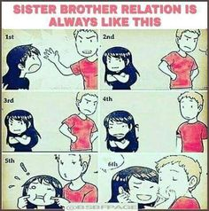 Tag-mention-share with your brother and sister 💜🧡💜👍 Brother Sister Love Quotes, Brother And Sister Relationship, Sister Quotes Funny, Funny Baby Quotes, True Quotes, Siblings Funny, Friend Birthday Quotes, Funny Fun Facts, Funny School Memes