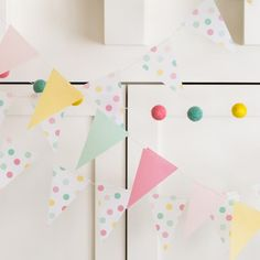 These banners add the perfect amount of color to any party, wedding or baby shower. Really any function you may have will work great with these mini banners. Includes 32 pennants sewn together in an 9 foot banner. $9.99 per banner