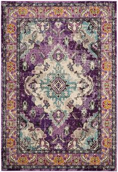 MNC243L Rug from Monaco collection.  Free-spirited and vibrantly colored, Monaco Collection rugs bring Bohemian-chic flair to folkloric and formal Persian designs. A mix of high and low loop pile is power-loomed of long-wearing polypropylene in classic textures and trendy erased-weave looks.