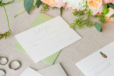 Pineapple Accented Invitation Suite | Peach + Green Summer Lowndes Grove Charleston Wedding by Charleston wedding photographer Dana Cubbage Weddings