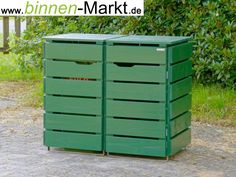 Mülltonnenverkleidung Holz, Tannengrün / Mülltonnenbox Holz, Tannen Grün