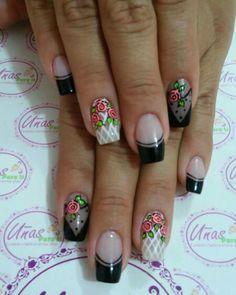 Uñas_ Cute Nail Art, Cute Nails, Pretty Nails, Hair And Nails, My Nails, Nancy Nails, Summer Holiday Nails, Crazy Nails, Flower Nail Art